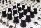 Knobs on analog synthesizer
